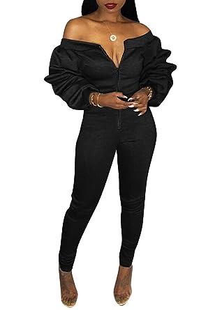 b6863d0fdc62 Women s Off Shoulder Ruffle Long Sleeve Front Zip up Bodysuit Jumpsuit Long  Pants Rompers (Black