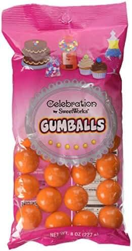 Sweetworks Celebration Candy Gumballs Bag, 8 oz, Orange