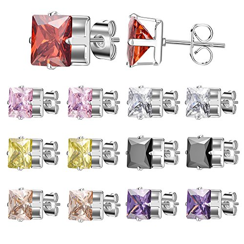 XZP Women Stainless Steel Stud Earrings Multicolor Square Crystal Studs Earring for Girls Set - Steel Surgical Posts With Earing