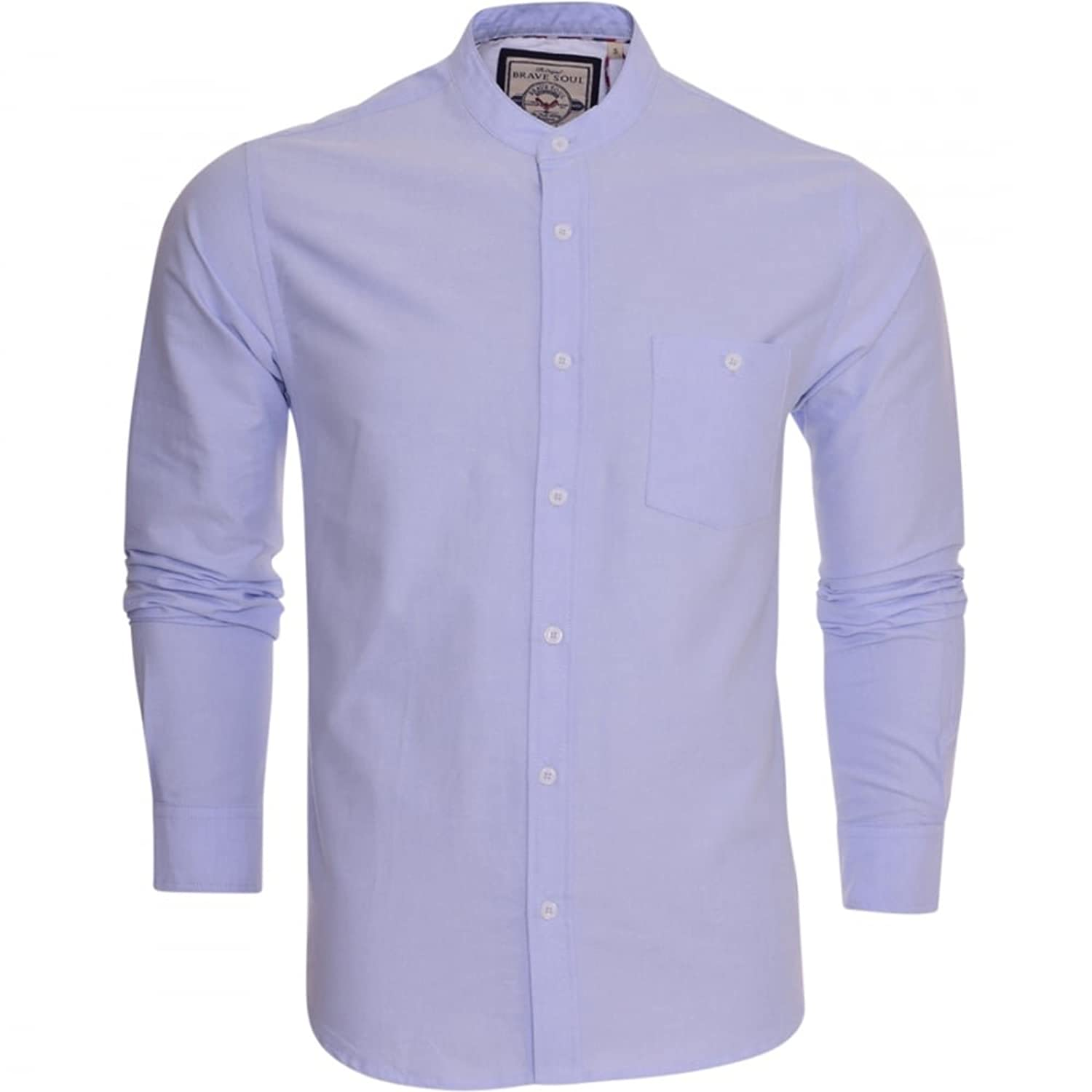Brave Soul Mens Grandad Oxford Cotton Shirt Collarless Long Sleeve ...