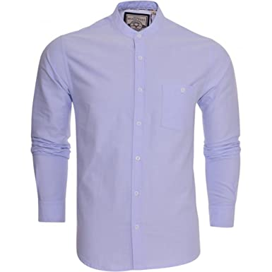 Brave Soul Mens Grandad Oxford Cotton Shirt Collarless Long Sleeve