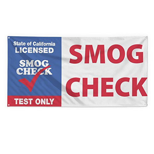 California Licensed Smog Check Test Only Outdoor Fence Sign Vinyl Windproof Mesh Banner With Grommets - 2ftx3ft, 4 Grommets 2' Spring Check