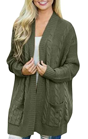 5d60ed4b11082a Etecredpow Women Casual Chunky Oversize Open Front Cardigan Cable Knit  Sweater Coat Army Green Small