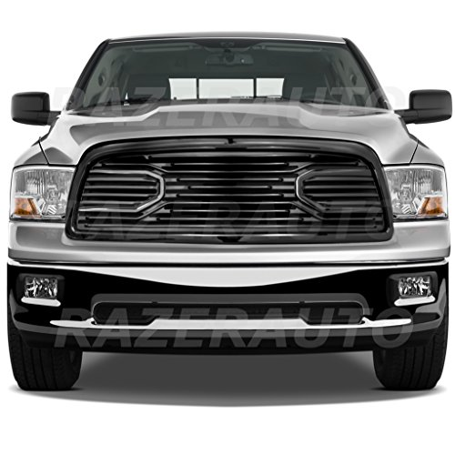 (Razer Auto Gloss Black Big Horn Complete Grille Factory Replacement Grille w/Shell for 2009-2012 Dodge RAM 1500)
