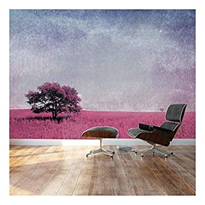 Fascinating Design, Purple Lone Tree Over a Magenta Field of Flowers Landscape Wall Mural, Made For You