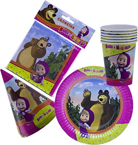 Bright Holiday Set for Children Masha and the Bear Must Have for Party Supplies and Birthday New Year's Tableware Colored Napkins Paper Plates Funny Hats Drinking Glasses Masha y el Oso by Masha and the Bear
