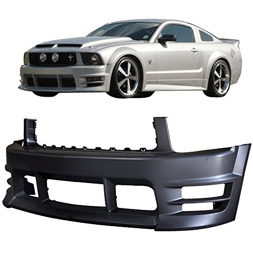 Front Bumper Cover Fits 2005-2009 Ford Mustang | V6 Racer Style Front Bumper End Conversion Kit PP by IKON MOTORSPORTS | 2006 2007 2008 (2007 Ford Mustang Bumper)