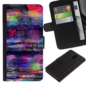 UberTech / Samsung Galaxy S5 Mini, SM-G800, NOT S5 REGULAR! / Wax Art Colors Psychedelic Mushrooms / Cuero PU Delgado caso Billetera cubierta Shell Armor Funda Case Cover Wallet Credit Card