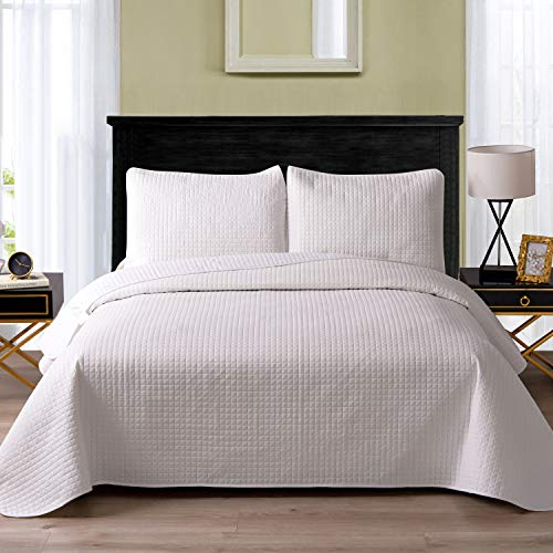 "Exclusivo Mezcla Ultrasonic Reversible 3-Piece Full/Queen Size Quilt Set with Pillow Shams, Lightweight Bedspread/Coverlet/Bed Cover - (White, 92""x88"")"