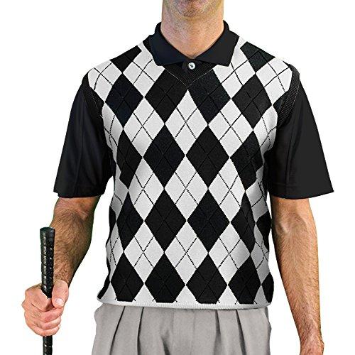 Black And White Argyle Sweater - 1