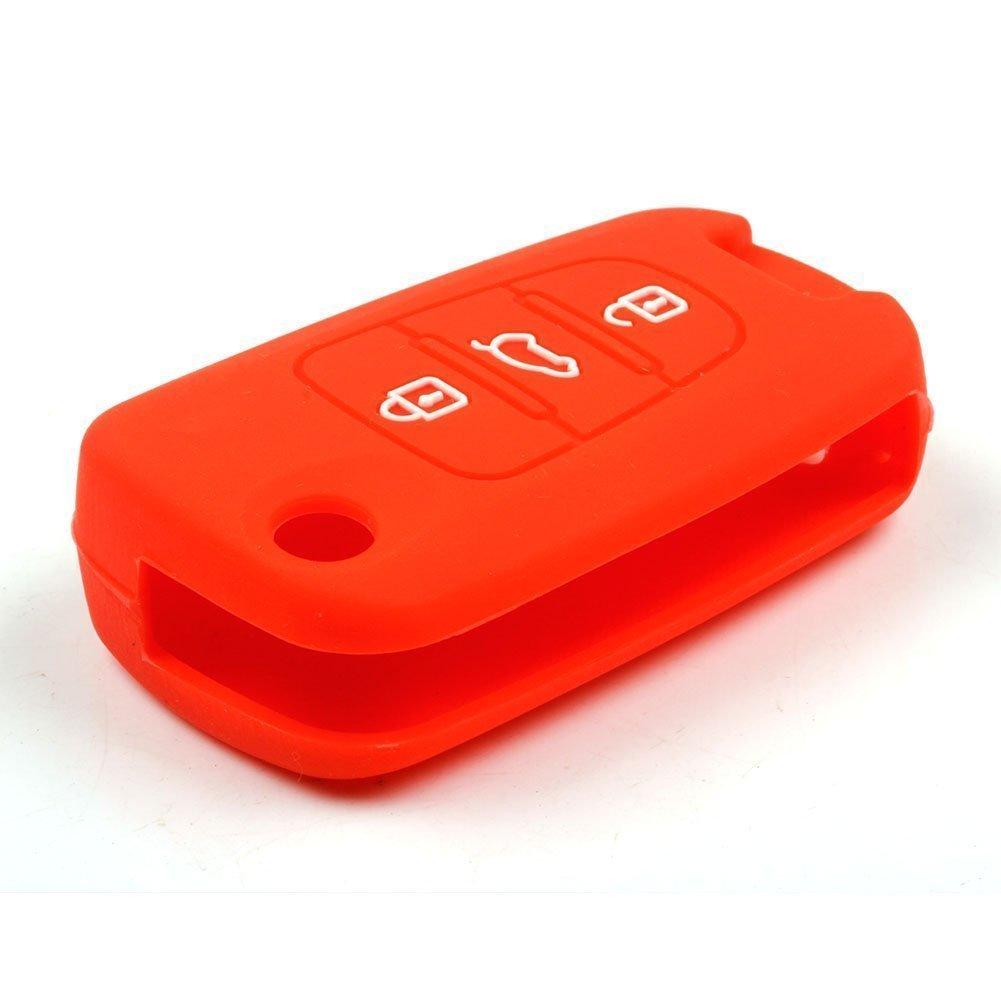 Mokie Silicone Remote Key Case Fob Cover 3 Button Remote Fob for KIA Sportage Soul Rio Optima Red