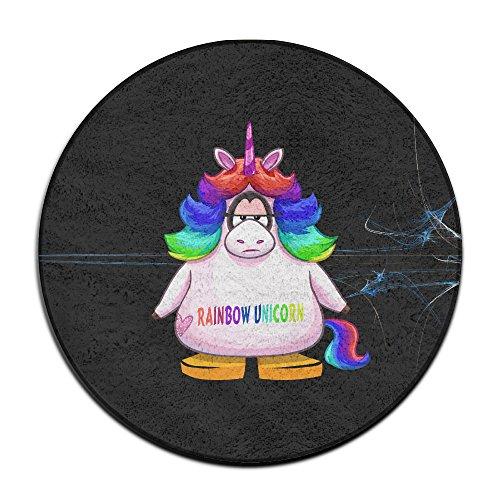 BOOMY Rainbow Unicorn Circular Floor Mat For Home Decorator Dining Room Bedroom Kitchen Bathroom - Santana Rose Jose San