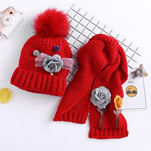 Filles Enfants Chapeaux D'hiver Costume Rouge Bébés Acmede Set Écharpe Mignonne Chaud Tricoté Garçons SzxxaAwOq