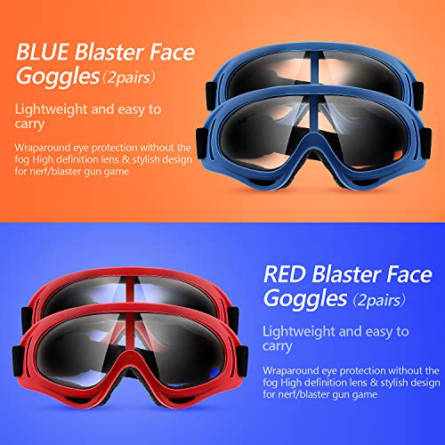 4 Pairs Protective Goggles Safety Glasses Eyewear Face Mask for Teens Game Battle (Blue, Red)