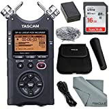 Tascam DR-40 4-Track Handheld Digital Audio Recorder (Black) with Tascam Handheld DR-Series Recording Accessory Package + 16 GB SDHC + Fibertique Cleaning Cloth