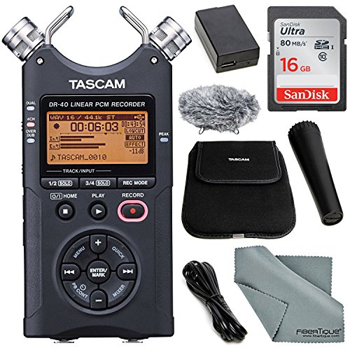 TASCAM DR-40 4-Track Handheld Digital Audio Recorder (Bla...