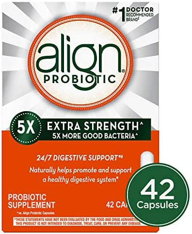 Align Extra Strength Probiotic, Probiotic Supplement for Digestive Health in Men and Women, 42 capsules, #1 Doctor Recommended Probiotics Brand (Packaging May Vary)