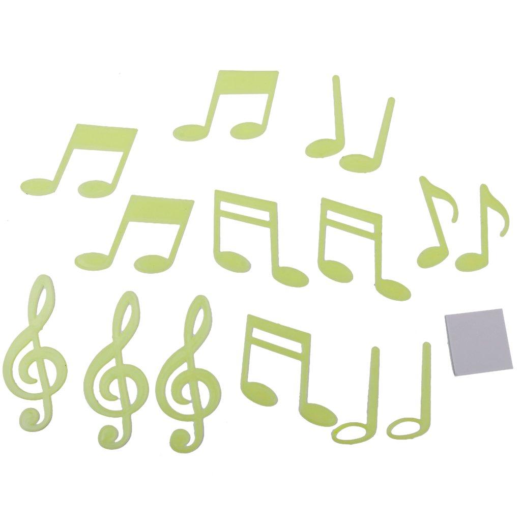 14pz Luminoso Adesivi Da Parete Nota Musicale Decorazioni Muro Letto Bambini Generico