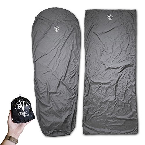 Outdoor Vitals Sleeping Bag Liner (Charcoal, Rectangular/Micro Polyester)