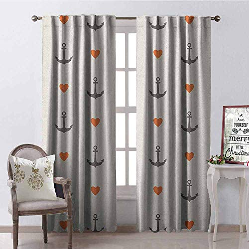 GloriaJohnson Anchor Wear-Resistant Color Curtain Anchors and Hearts Sweet Romantic Beach Holiday Party Gathering Leisure Tour Waterproof Fabric W42 x L84 Inch Vermilion Grey