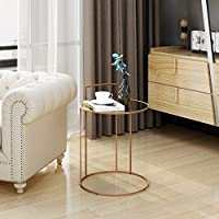 Barbara Glam Tempered Glass Side Table with Rose Gold Finished Stainless Steel Frame