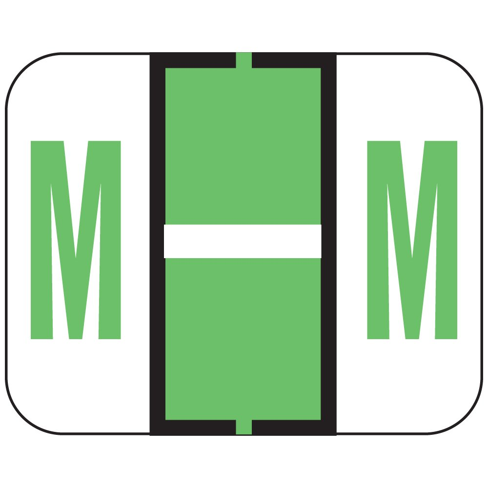 TAB COMPATIBLE TPAM-M 1838 Permanent Color Code Label, Alphabet,M, 1 1/4'' x 1'', Light Green (Pack of 500)