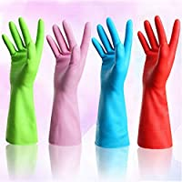 Set of 4 Pairs - ZICOME Reusable Waterproof Household Gloves for Kitchen Dish...