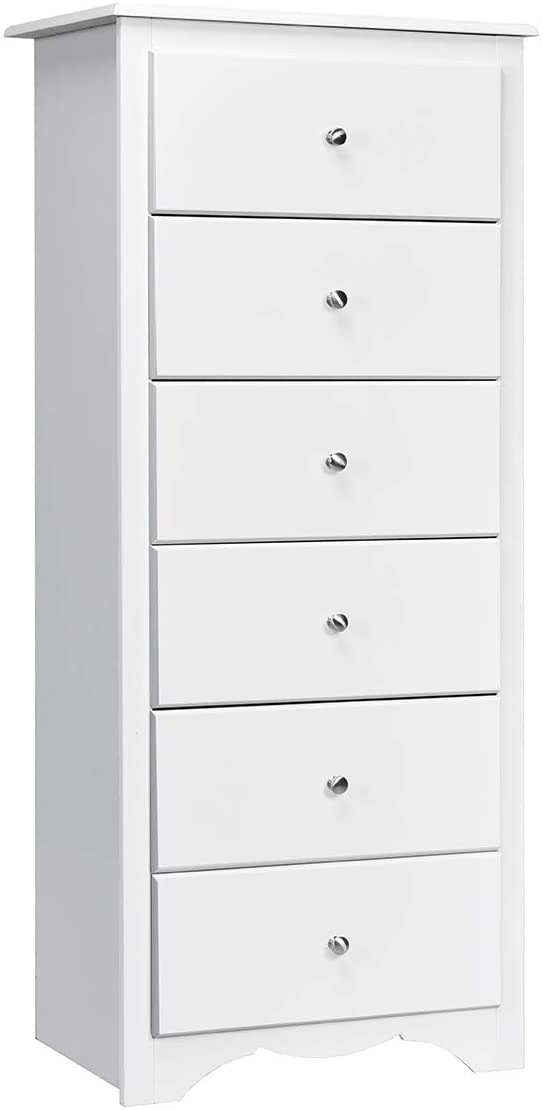 Giantex 6 Drawer Chest Wooden Dresser Clothes Organizer Bedroom, Hallway, Entryway Furniture Tall Storage Cabinet White