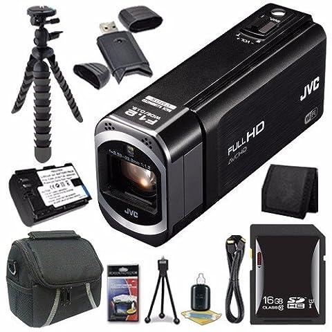 JVC GZ-VX700 1080P HD JVC Everio Camcorder (Black) + 16GB SDHC Card + JVC BN-VG121 Battery + Case + Mini Flexible Tripod + Mini HDMI Cable + Card Wallet + Card Reader + Saver (Jvc Everio Sd Card)