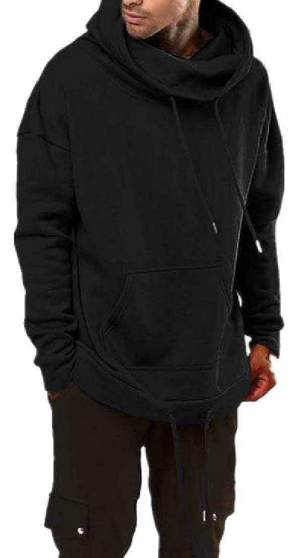 Wofupowga Mens Long Sleeve Fleece Plus Size Pullover Pocket Hooded Sweatshirt