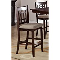 Poundex High Chair with Upholstered Seat and Solid Wood, Beige, Set of 2