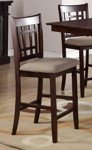 Poundex PDEX-F1205 High Chair with Upholstered Seat and Solid Wood, Beige, Set of 2