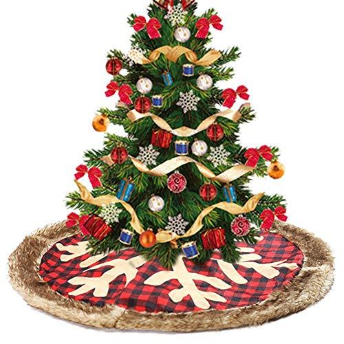 ZXXxxZ Falda De Árbol De Navidad, 35 Pulgadas Cuadros Rojos De ...