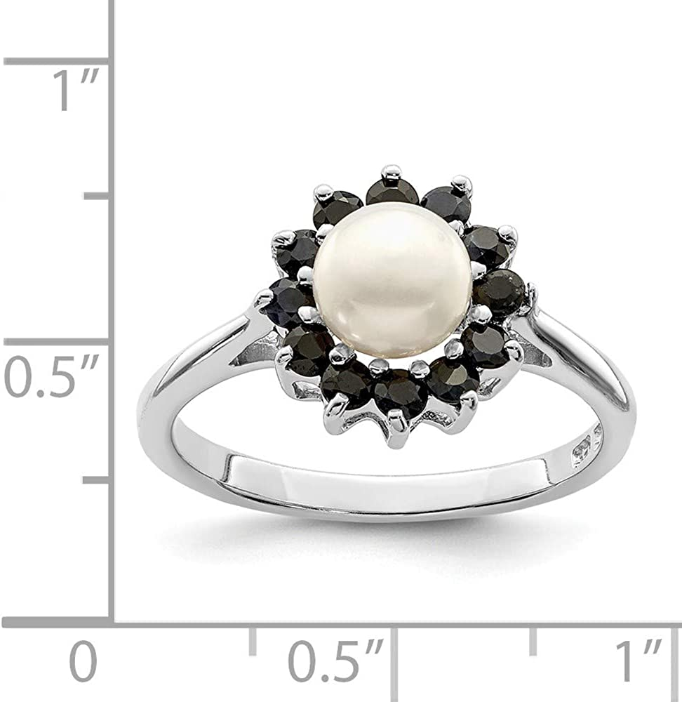 Sterling Silver Pearl Ring Band Solid Silver Rhodium 2 mm Rhod 6mm FW Cultured Button Pearl Sapphire Ring