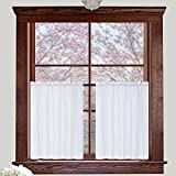 #9: Valea Home Waffle Weave Textured Half Window Tier Curtains for Bathroom Water Repellent Window Covering Kitchen Short Curtains, 72