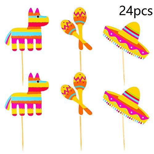 (24pcs Mexican Fiesta Cupcake Toppers Cake Toppers Fruit Picks for Mexican Party Cake Table Decorative Supplies)