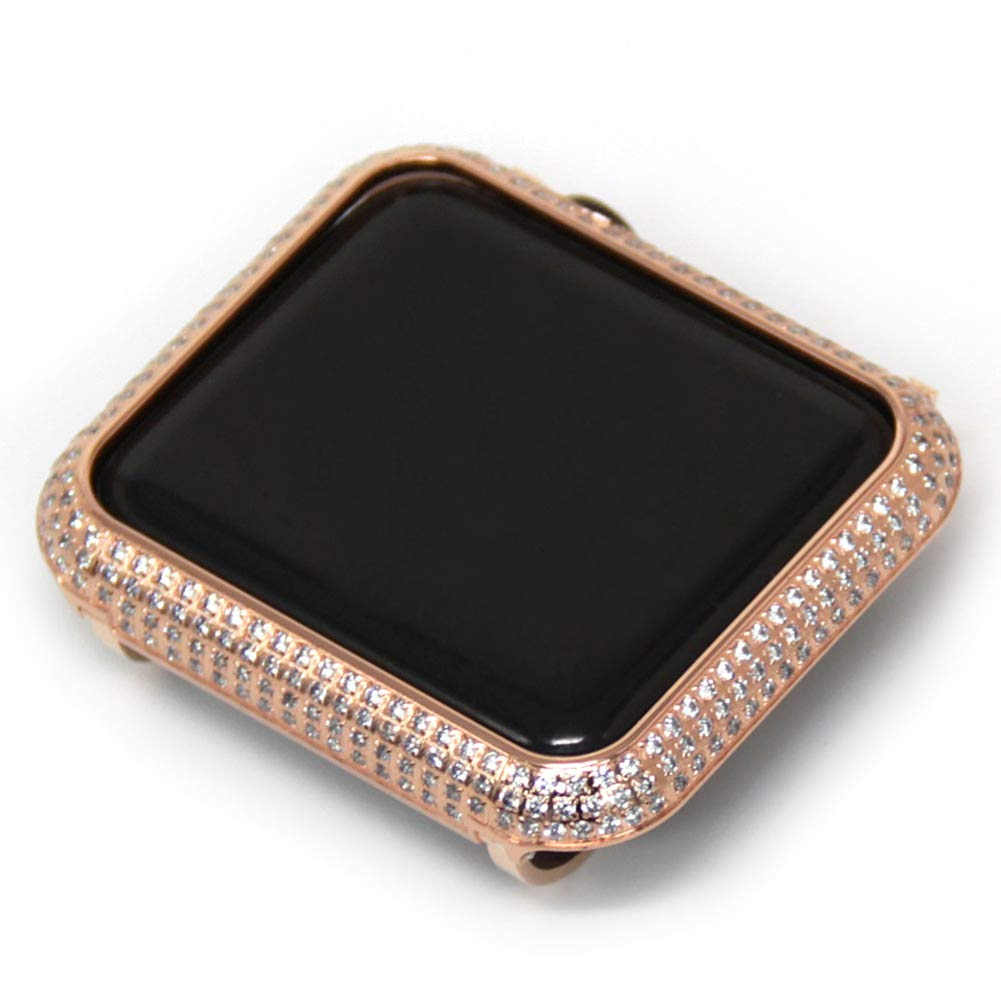 YALTOL Iwatch/Apple Watch Protection Frame with Rhinestone Diamond Metal Case Bezel for Apple Watch Series 4/3/2/1,Rosegold,42mm