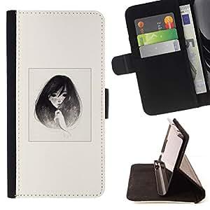Momo Phone Case / Flip Funda de Cuero Case Cover - Emo B & W retrato de la muchacha - Motorola Moto E ( 2nd Generation )