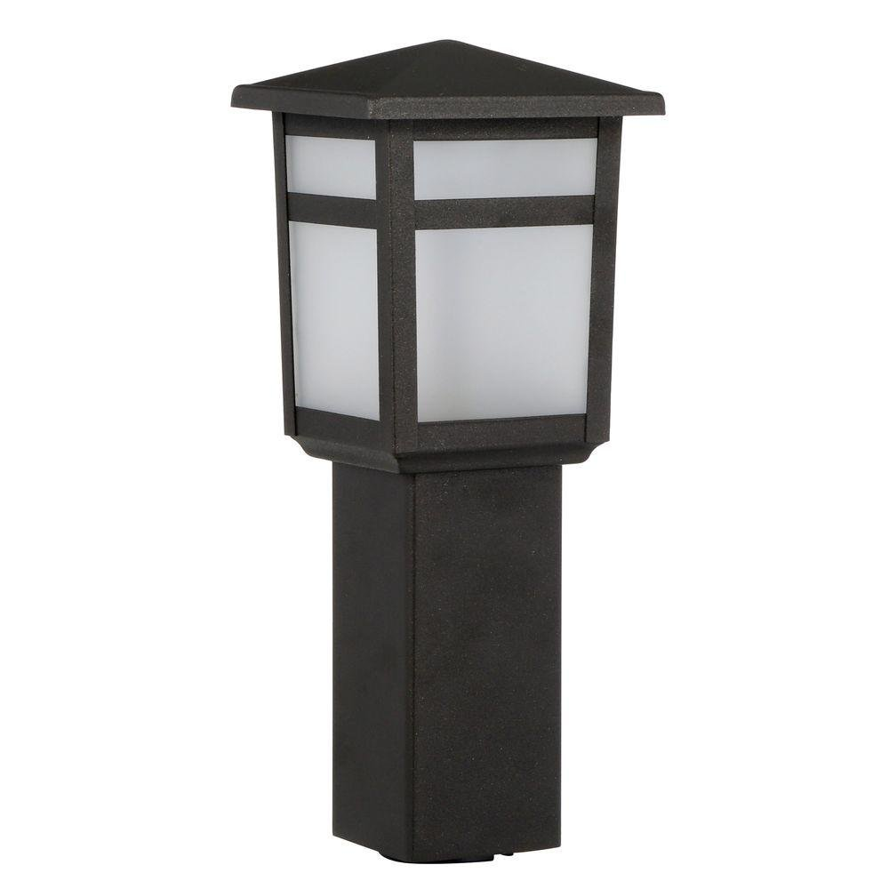 Hampton Bay Low-Voltage Black Square Integrated LED Outdoor Bollard Path Light