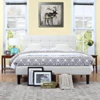 Classic Deluxe Ivory Linen Low Profile Platform Bed Frame with Tufted Headboard Design (Full)
