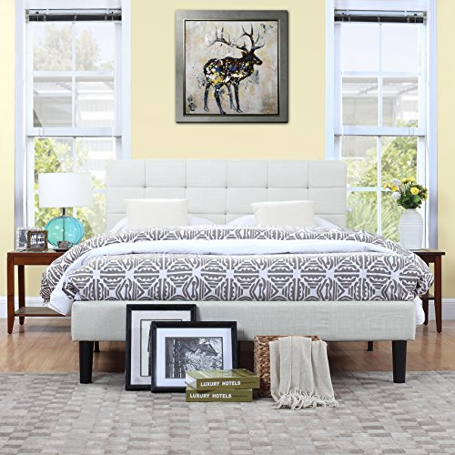 Classic Deluxe Ivory Linen Low Profile Platform Bed Frame with Tufted Headboard Design (Queen) by Divano Roma Furniture