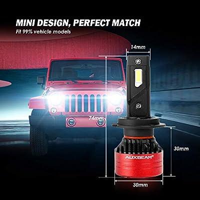 Auxbeam F3 Series H7 Led Headlight Bulb, 8000 Lumens 6500K, Single Beam Fan Conversion Kit, Anti-Flickering Upgraded Canbus Decoder Ready, Triple Heat Dissipation, Pack of 2: Automotive