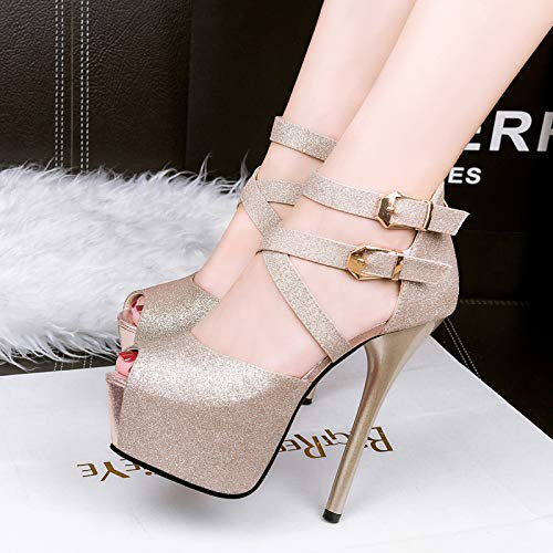 Sequins Super High Show And Golden SFSYDDY Walking Autumn Sandals 14Cm Night Thin Shoe Waterproof Sexy Platform Heels IUw8z