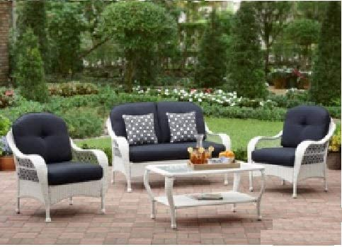 White All Weather Wicker 4 Piece Patio Conversation Set Perfect Modern Cushioned Conversation Chairs and Loveseat with 2 Toss Pillows and a Glass Topped Coffee Table for Your Home Outdoors by the Grill, Firepit, Garden or Gazebo