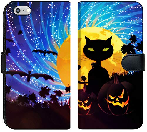 Liili iPhone 6 Plus and iPhone 6S Plus Flip Micro Fabric Wallet Case Halloween Party Background with Pumpkins and Moon on Starry Sky Image ID 21658403