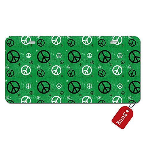 Green Peace Sign - EnnE Personalized Metal License Plate Cover Green Peace Sign For Car 2 Holes Car Tag 11.8 inch X 6.1 inch