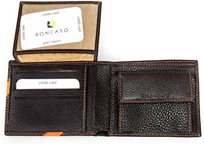 Wallet man RONCATO moro leather with stitchings with coin purse and flap A3334