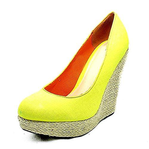 Wedge punta redonda zapatos Tribunal de mimbre Algodón amarillo