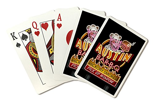 (Austin, Texas - Neon BBQ Sign (Playing Card Deck - 52 Card Poker Size with Jokers))