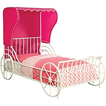 Furniture of America Ellie Twin Metal Carriage Bed in White